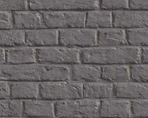 Melora Faux Brick Wallpaper in Black and Grey by BD Wall