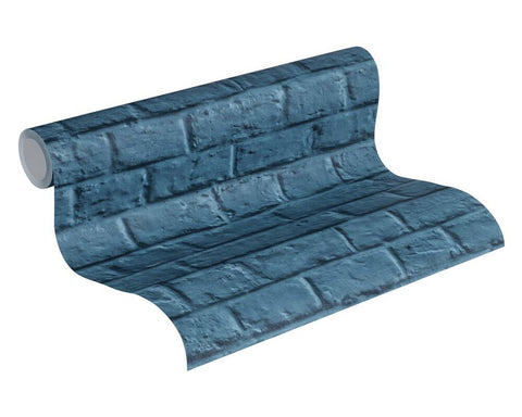 Melora Faux Brick Wallpaper in Blue by BD Wall