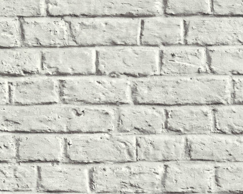 Melora Faux Brick Wallpaper in Grey and White by BD Wall