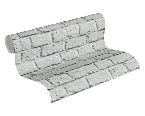Melora Faux Brick Wallpaper in Grey by BD Wall