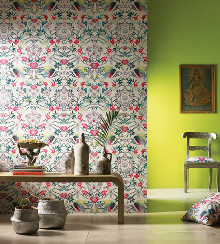 Menagerie Wallpaper in Cerise and Teal by Matthew Williamson for Osborne & Little