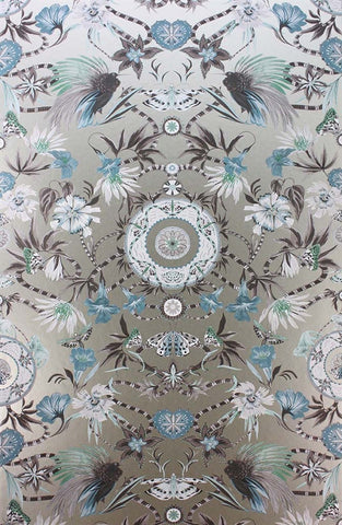 Menagerie Wallpaper in Aqua and Gilver by Matthew Williamson for Osborne & Little