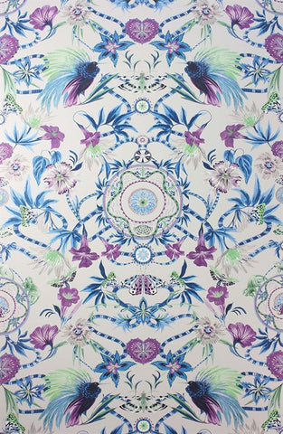 Menagerie Wallpaper in Persian Blue and Lilac by Matthew Williamson for Osborne & Little