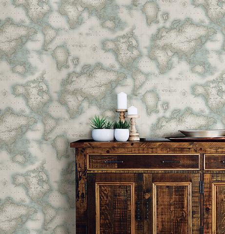 Mercator Aqua World Map Wallpaper from the Seaside Living Collection by Brewster Home Fashions