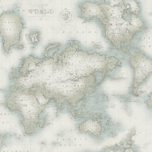 Sample Mercator Aqua World Map Wallpaper from the Seaside Living Collection by Brewster Home Fashions
