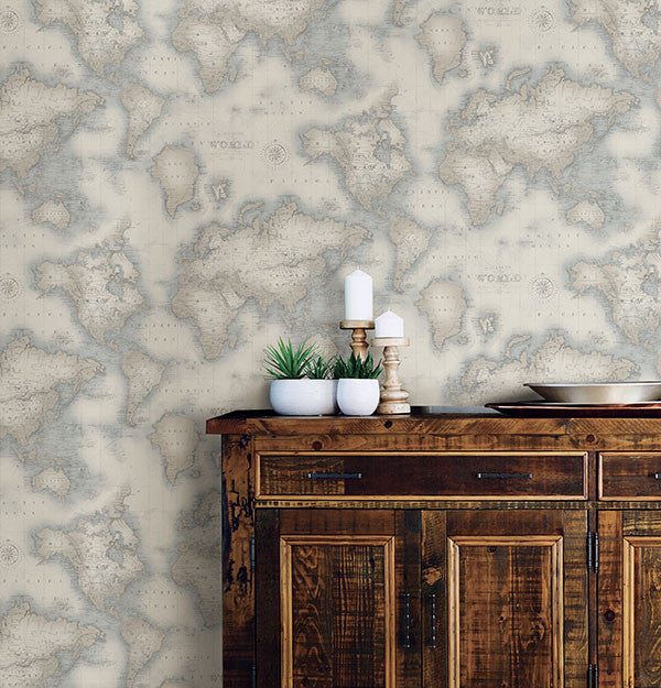 Sample Mercator Blue World Map Wallpaper from the Seaside Living Collection by Brewster Home Fashions