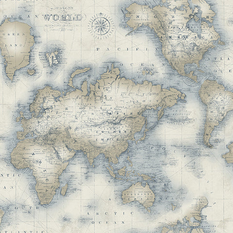 Mercator Cream World Map Wallpaper from the Seaside Living Collection by Brewster Home Fashions