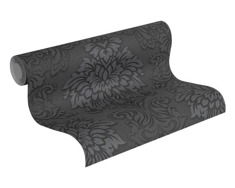 Meredith Classic Baroque Wallpaper in Black, Grey, and Metallic by BD Wall