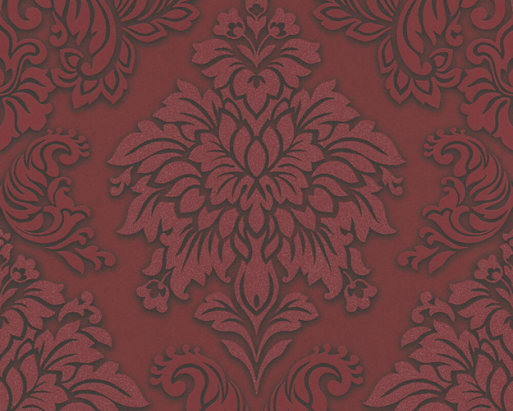 Sample Meredith Classic Baroque Wallpaper in Red, Black, and Metallic by BD Wall