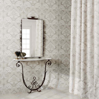 Meredith Wallpaper in Silver by Nina Campbell for Osborne & Little