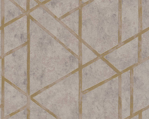 Merida Deco Wallpaper in Beige and Gold by BD Wall