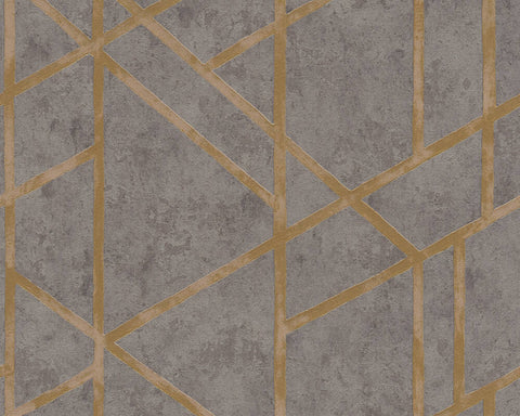 Merida Deco Wallpaper in Grey and Gold by BD Wall