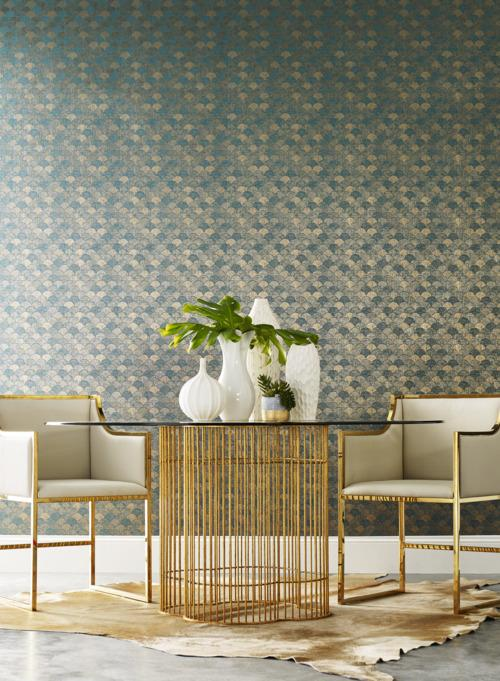 Mermaid Scales Wallpaper from the Natural Opalescence Collection by Antonina Vella for York Wallcoverings