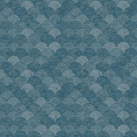 Mermaid Scales Wallpaper in Blue from the Natural Opalescence Collection by Antonina Vella for York Wallcoverings