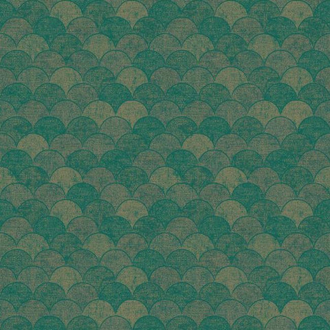 Mermaid Scales Wallpaper in Teal and Gold from the Natural Opalescence Collection by Antonina Vella for York Wallcoverings