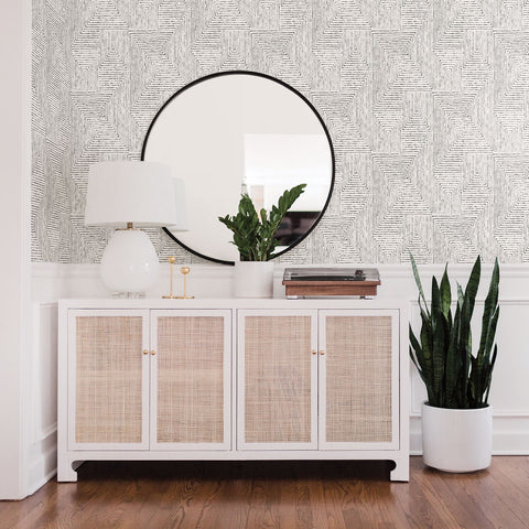 Merritt Geometric Wallpaper in Black from the Scott Living Collection by Brewster Home Fashions
