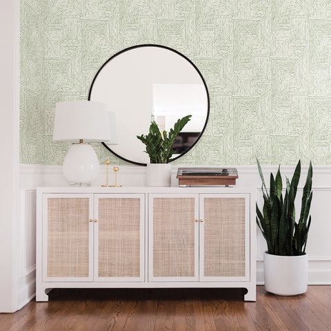 Merritt Geometric Wallpaper in Green from the Scott Living Collection by Brewster Home Fashions
