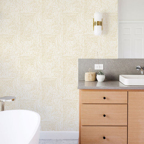 Merritt Geometric Wallpaper in Honey from the Scott Living Collection by Brewster Home Fashions