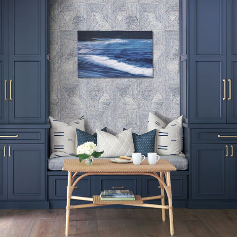 Merritt Geometric Wallpaper in Indigo from the Scott Living Collection by Brewster Home Fashions