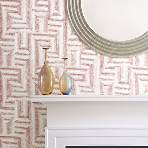 Merritt Geometric Wallpaper in Red from the Scott Living Collection by Brewster Home Fashions