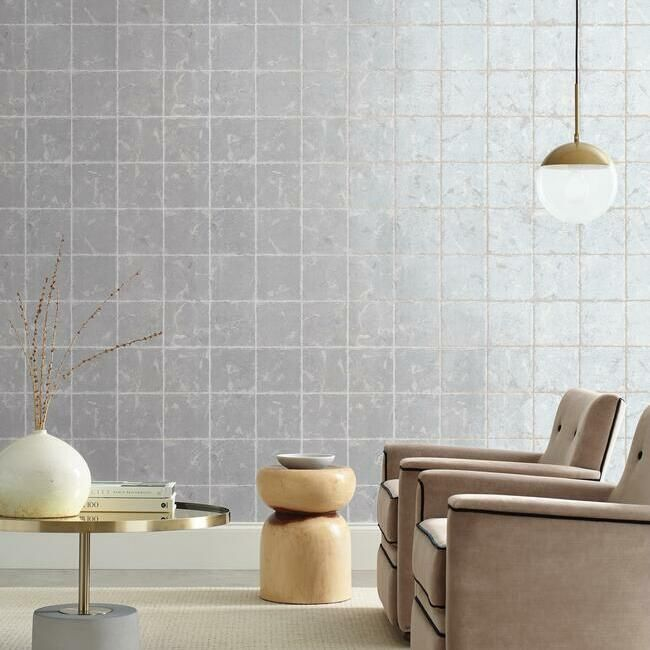 Metal Leaf Squares Wallpaper in Silver from the Ronald Redding 24 Karat Collection by York Wallcoverings