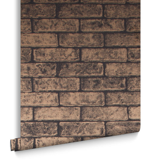 Metallic Brick Wallpaper in Bronze Black from the Exclusives Collection by Graham & Brown