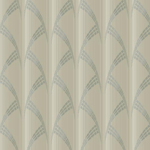 Metropolis Wallpaper in Beige and Metallic from the Deco Collection by Antonina Vella for York Wallcoverings