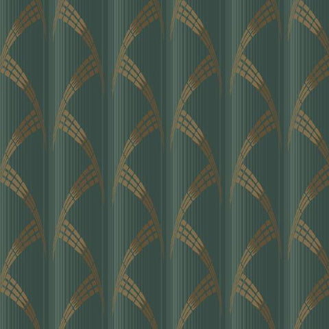 Metropolis Wallpaper in Green and Gold from the Deco Collection by Antonina Vella for York Wallcoverings