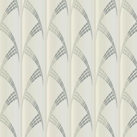 Metropolis Wallpaper in Ivory and Beige from the Deco Collection by Antonina Vella for York Wallcoverings