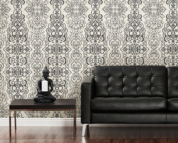 Mexuar Filigree Stripe Wallpaper from the Alhambra Collection by Brewster Home Fashions