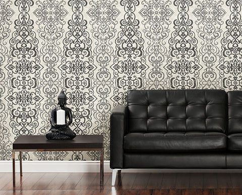 Mexuar Black Filigree Stripe Wallpaper from the Alhambra Collection by Brewster Home Fashions
