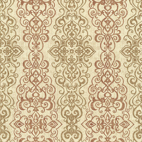 Mexuar Copper Filigree Stripe Wallpaper from the Alhambra Collection by Brewster Home Fashions
