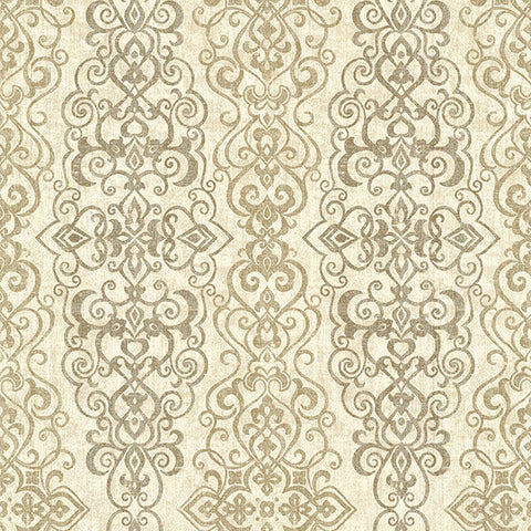 Mexuar Taupe Filigree Stripe Wallpaper from the Alhambra Collection by Brewster Home Fashions