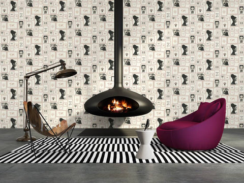 Meya Modern Frames Wallpaper in Beige and White by BD Wall