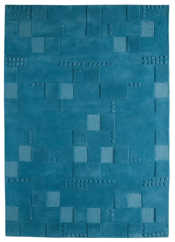 Miami Collection Hand Tufted Wool Area Rug in Turquoise design by Mat the Basics