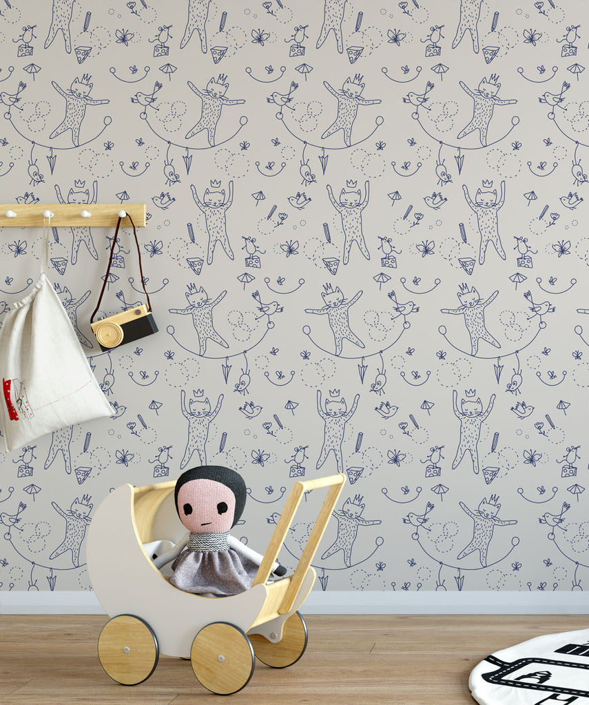 Mice & Cats Wallpaper from the Muffin & Mani Collection by Milton & King