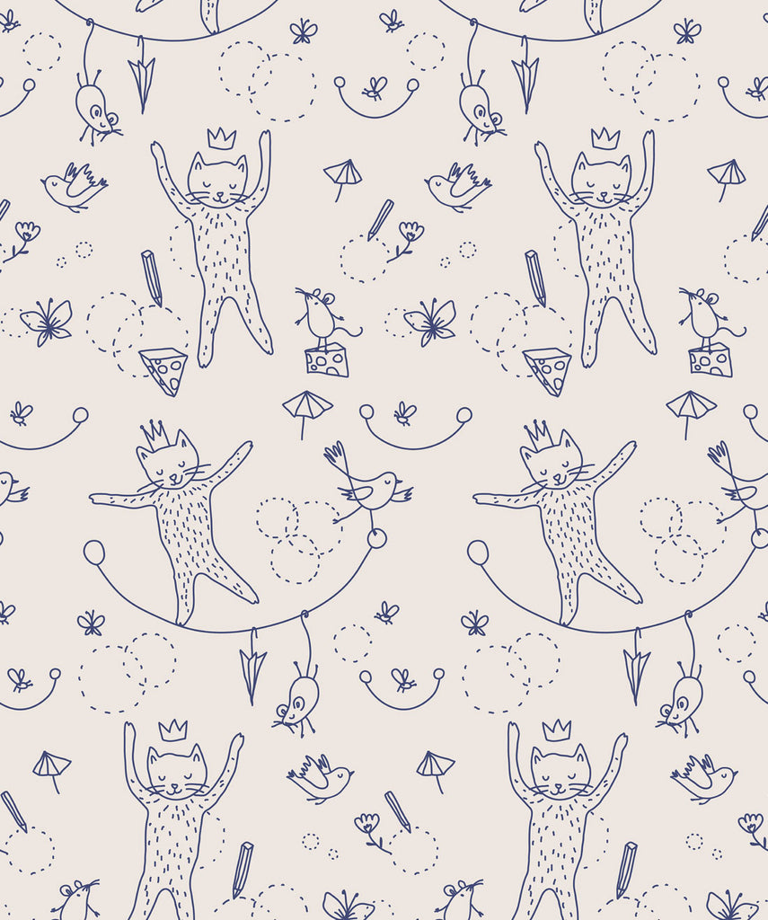 Sample Mice & Cats Wallpaper from the Muffin & Mani Collection by Milton & King