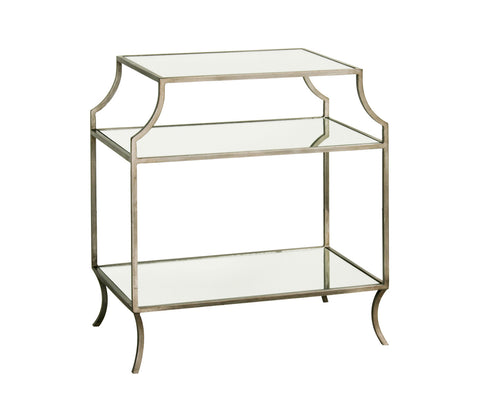 Milla Side Table w/ Shelf in Antique Silver design by Redford House