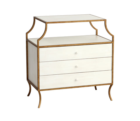 Milla Side Table w/ Drawers in Raw Cotton design by Redford House