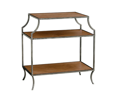 Milla Side Table w/ Wood Shelves in Almond design by Redford House