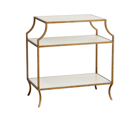 Milla Side Table w/ Wood Shelves in Raw Cotton design by Redford House