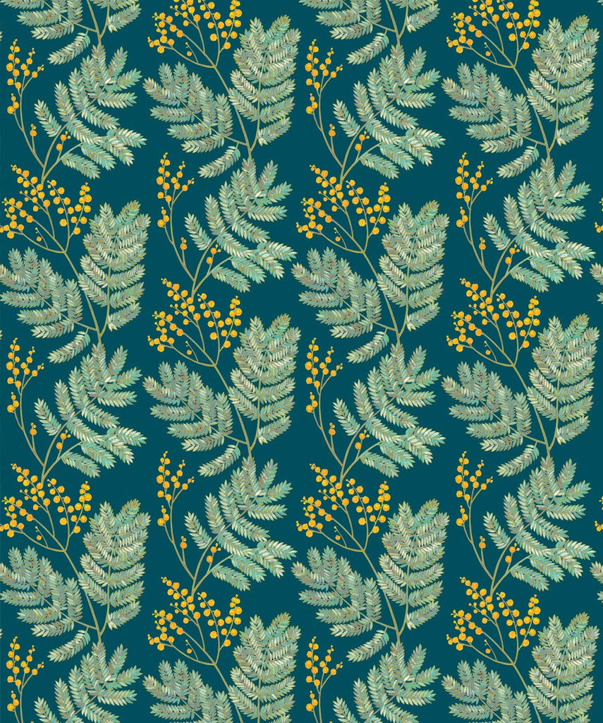 Mimosa Wallpaper in Wattle Green from the Wallpaper Republic Collection by Milton & King
