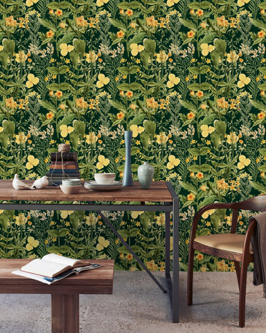 Mimulus Wallpaper in Green and Yellow from the Florilegium Collection by Mind the Gap