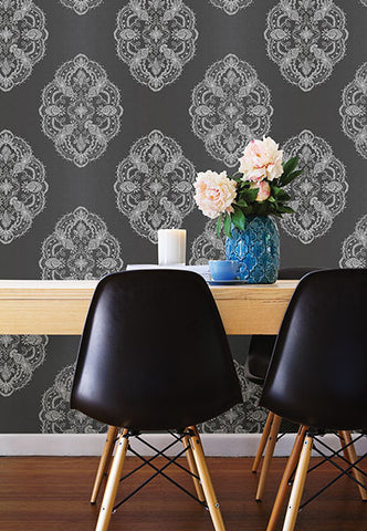 Mirador Black Global Medallion Wallpaper from the Alhambra Collection by Brewster Home Fashions
