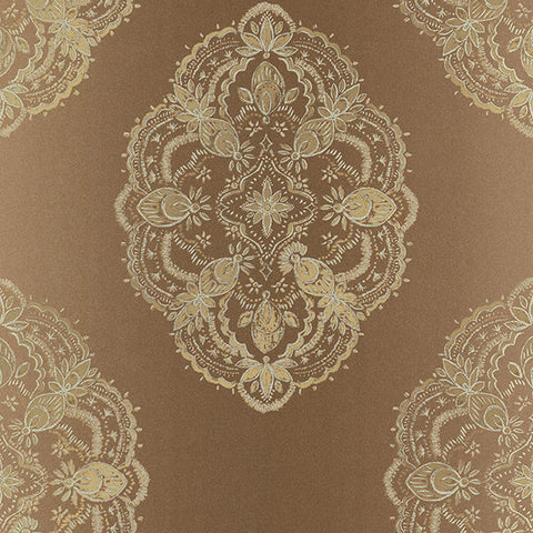 Mirador Copper Global Medallion Wallpaper from the Alhambra Collection by Brewster Home Fashions