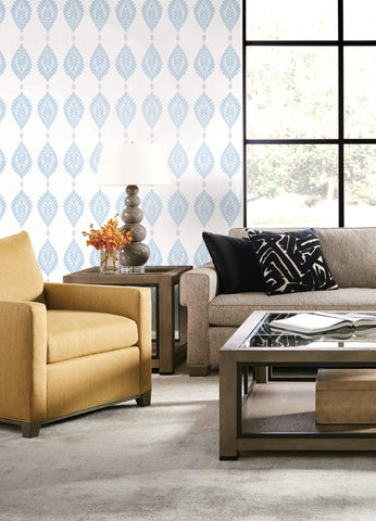 Mirasol Palm Frond Wallpaper in Carolina Blue and Eggshell from the Luxe Retreat Collection by Seabrook Wallcoverings