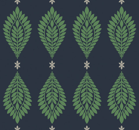 Mirasol Palm Frond Wallpaper in Midnight Blue and Spearmint from the Luxe Retreat Collection by Seabrook Wallcoverings
