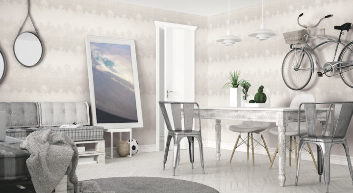 Mist Wallpaper In Cream, Silver, And Grey From The Aerial