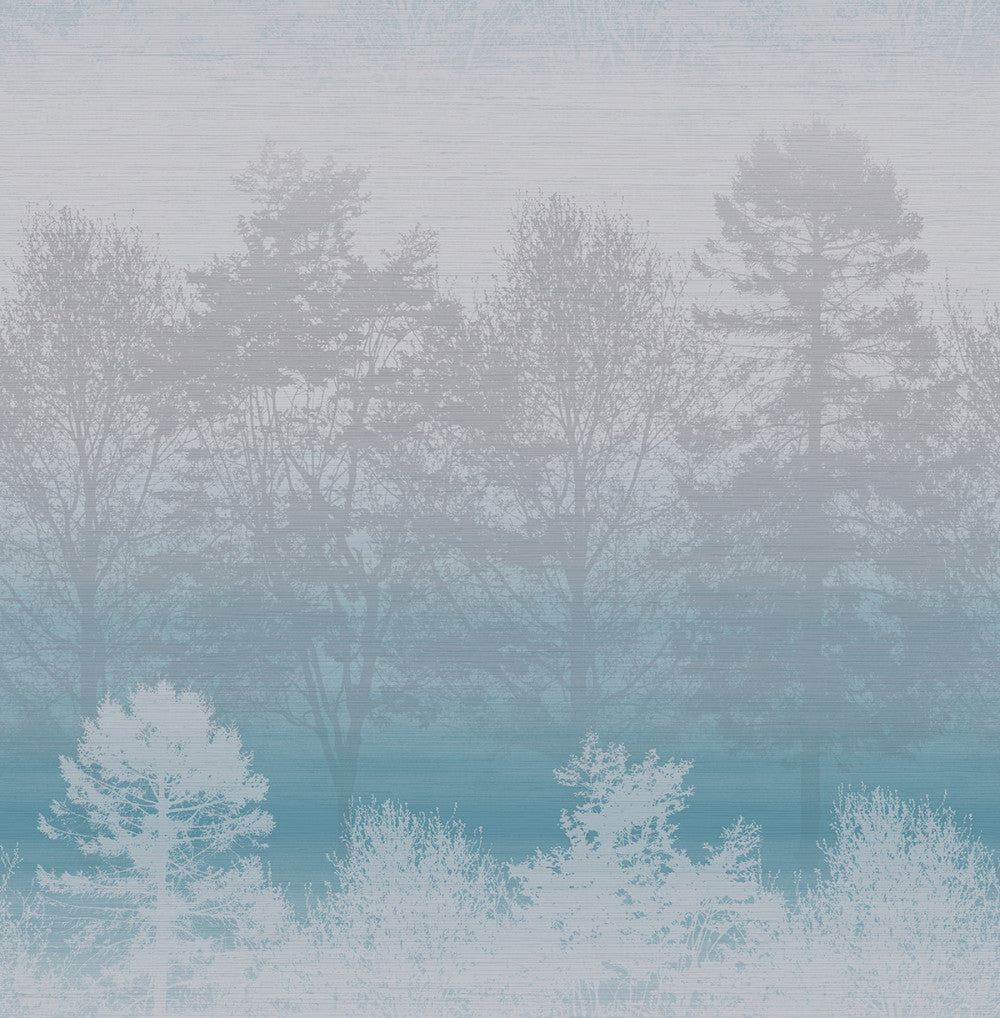 Mist Wallpaper in Blue, Silver, and Grey from the Aerial Collection by Mayflower Wallpaper