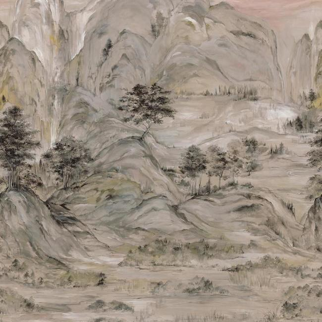 Misty Mountain Wall Mural in Taupe from the Tea Garden Collection by Ronald Redding for York Wallcoverings